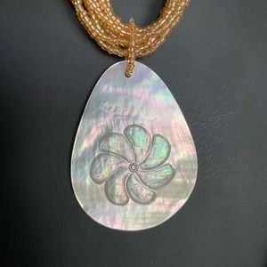 Bead necklace with abalone shell pendant